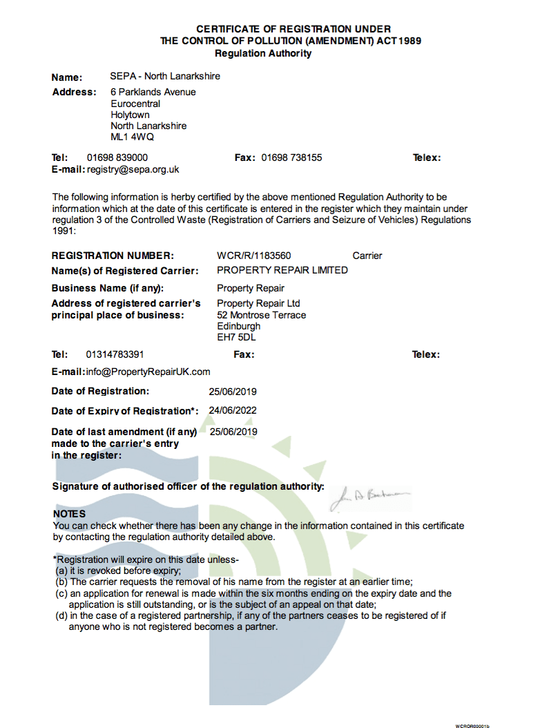 WCR/R/1183560 | SEPA WASTE CARRIERS LICENCE