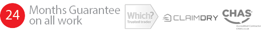 24 Months Guarantee on all work. Accreditations: Which Trusted Trader, Checkatrade, and CHAS.